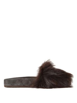 Brunello Cucinelli: Loafers & Slippers - Shearling Folk embellished slides