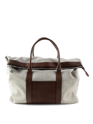 Brunello Cucinelli: Luggage & Travel bags - Canvas and leather carryall