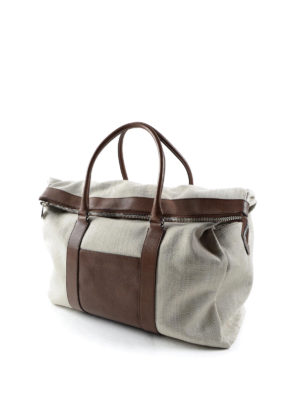 Brunello Cucinelli: Luggage & Travel bags online - Canvas and leather carryall