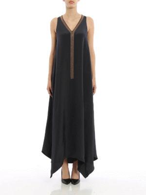 Brunello Cucinelli: maxi dresses online - Monili trimmed silk maxi dress