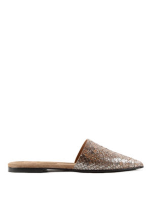 Brunello Cucinelli: mules shoes - Laminated python mules
