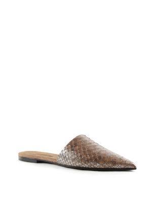 Brunello Cucinelli: mules shoes online - Laminated python mules