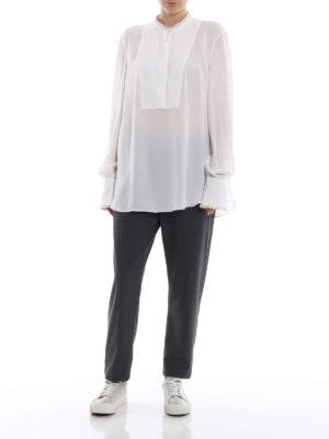 BRUNELLO CUCINELLI: bluse online - Blusa lunga in seta con profili punto luce