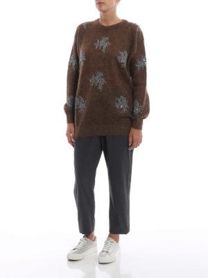 BRUNELLO CUCINELLI: maglia collo rotondo online - Pull marrone in misto mohair con decori