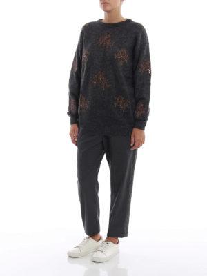 BRUNELLO CUCINELLI: maglia collo rotondo online - Pull antracite in misto mohair con decori