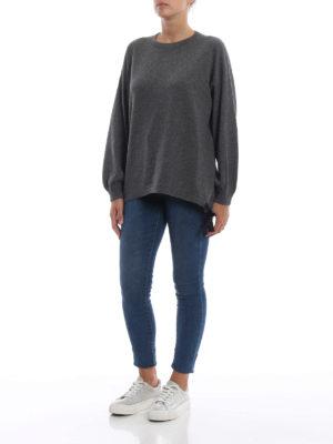 BRUNELLO CUCINELLI: maglia collo rotondo online - Pull grigio in cashmere con coulisse