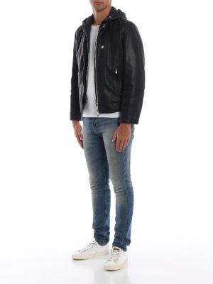 BRUNELLO CUCINELLI: giacche in pelle online - Giubbotto in nappa con cappuccio ed eco piuma