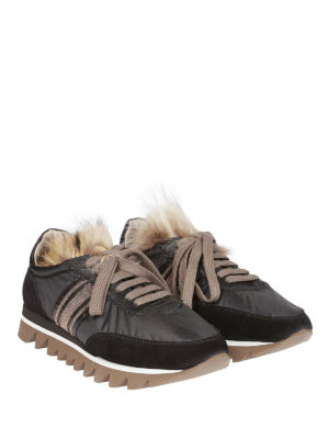 BRUNELLO CUCINELLI: sneakers online - Sneaker con banda preziosa e pelliccia