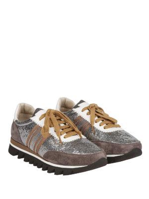BRUNELLO CUCINELLI: sneakers online - Sneaker in pelle laminata con banda preziosa