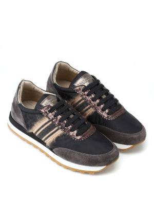 BRUNELLO CUCINELLI: sneakers online - Sneaker in taffetà e suede con punto luce