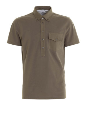 Brunello Cucinelli: polo shirts - Cotton and silk jersey polo shirt