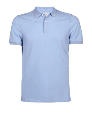 Brunello Cucinelli: polo shirts - Cotton pique slim fit polo