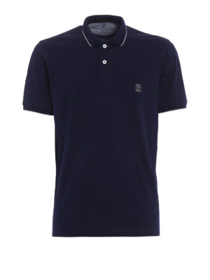 Brunello Cucinelli: polo shirts - Embroidered logo jersey polo shirt