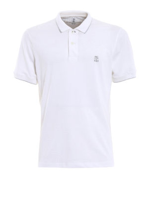 Brunello Cucinelli: polo shirts - Embroidered logo white polo shirt