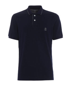 Brunello Cucinelli: polo shirts - Embroidery logo blue polo shirt