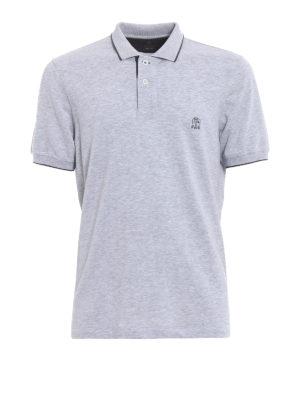 Brunello Cucinelli: polo shirts - Embroidery logo grey polo shirt