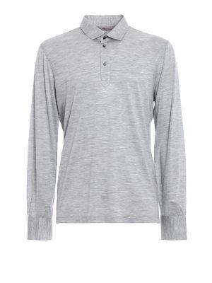 Brunello Cucinelli: polo shirts - Long sleeve silk blend polo shirt