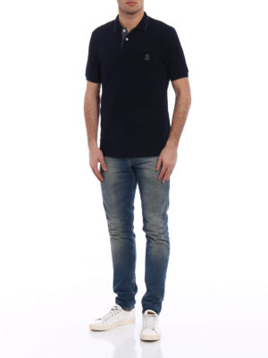 Brunello Cucinelli: polo shirts online - Embroidery logo blue polo shirt