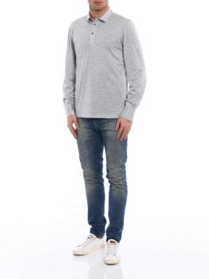 Brunello Cucinelli: polo shirts online - Long sleeve silk blend polo shirt