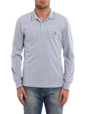 Brunello Cucinelli: polo shirts online - Melange cotton jersey polo