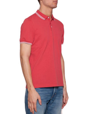 Brunello Cucinelli: polo shirts online - Red cotton pique slim fit polo