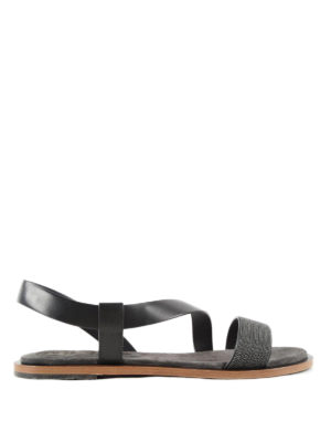 Brunello Cucinelli: sandals - Monili detailed flat sandals