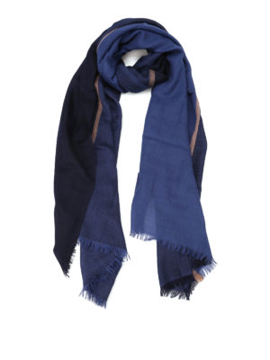 Brunello Cucinelli: scarves - Cashmere and silk maxi check scarf