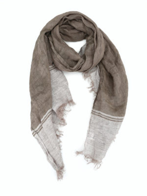 Brunello Cucinelli: scarves - Linen scarf with fringed edges