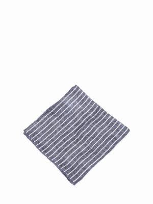 Brunello Cucinelli: scarves online - Striped linen blend pocket square