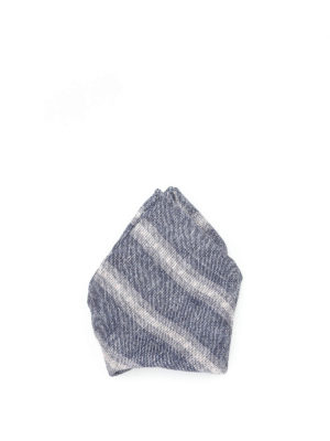 Brunello Cucinelli: scarves - Striped linen blend pocket square