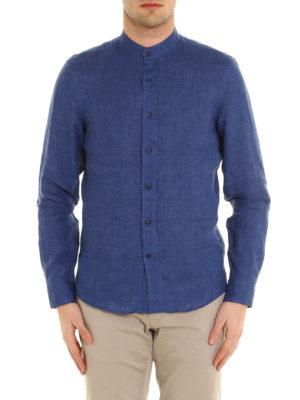 Brunello Cucinelli: shirts online - Guru collar linen shirt