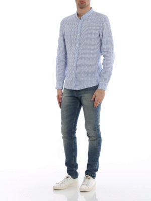 Brunello Cucinelli: shirts online - Pure linen striped shirt