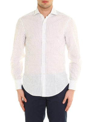 Brunello Cucinelli: shirts online - Striped linen and cotton shirt