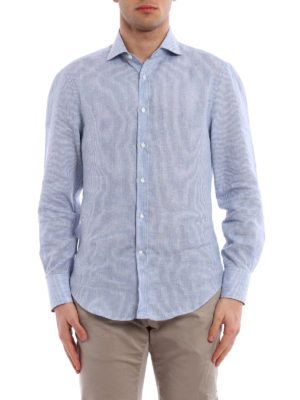 Brunello Cucinelli: shirts online - Striped pattern linen shirt