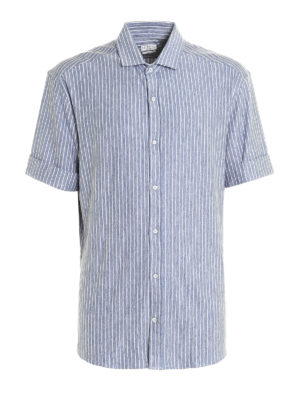 Brunello Cucinelli: shirts - Short sleeve linen jersey shirt