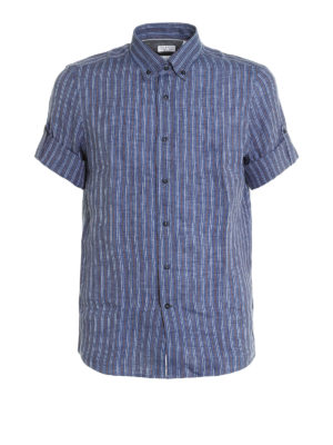 Brunello Cucinelli: shirts - Short sleeve linen shirt