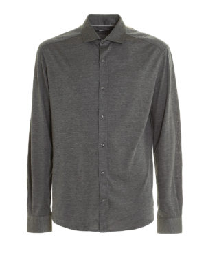 Brunello Cucinelli: shirts - Silk and cotton jersey shirt