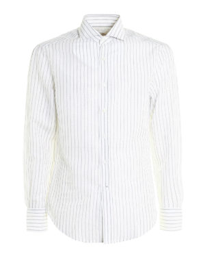 Brunello Cucinelli: shirts - Striped linen and cotton shirt