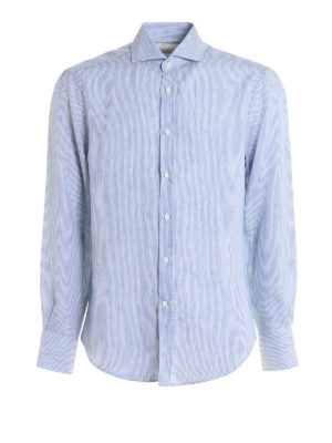 Brunello Cucinelli: shirts - Striped pattern linen shirt