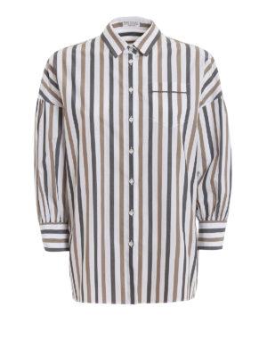 c5ebdba6e8889 BRUNELLO CUCINELLI  camicie - Camicia in popeline a righe con monile