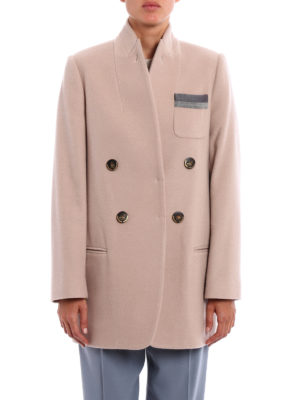 Brunello Cucinelli: short coats online - Shiny Grosgrain cashmere short coat