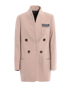Brunello Cucinelli: short coats - Shiny Grosgrain cashmere short coat