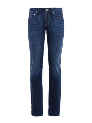Brunello Cucinelli: straight leg jeans - Faded cotton denim jeans