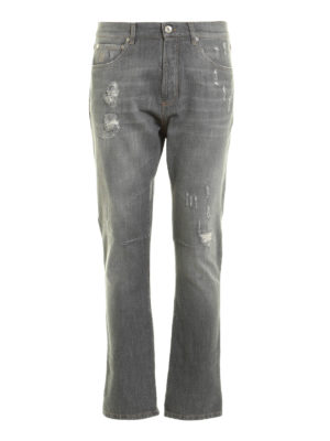 Brunello Cucinelli: straight leg jeans - Faux scraping distressed jeans