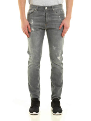 Brunello Cucinelli: straight leg jeans online - Faux scraping distressed jeans