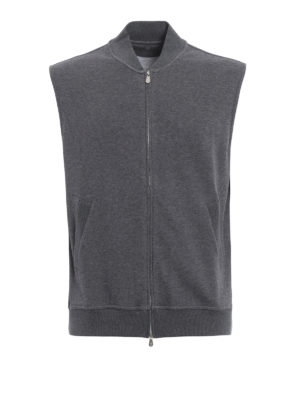 Brunello Cucinelli: Sweatshirts & Sweaters - Bomber style sleeveless sweatshirt