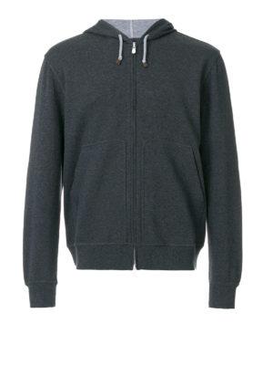 Brunello Cucinelli: Sweatshirts & Sweaters - Melange cotton zipped hoodie