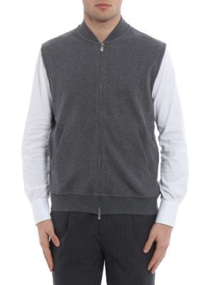 Brunello Cucinelli: Sweatshirts & Sweaters online - Bomber style sleeveless sweatshirt
