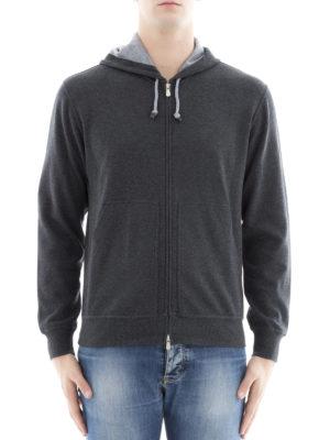 Brunello Cucinelli: Sweatshirts & Sweaters online - Melange cotton zipped hoodie