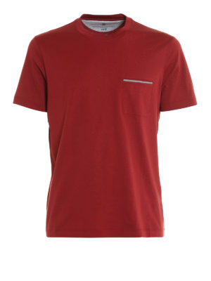 Brunello Cucinelli: t-shirts - Chest pocket melange cotton T-shirt